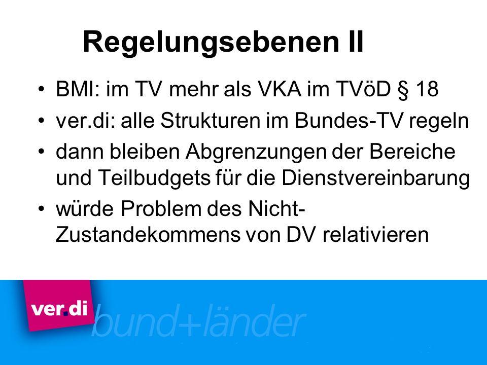 Regelungsebenen II BMI: im TV mehr als VKA im TVöD § 18