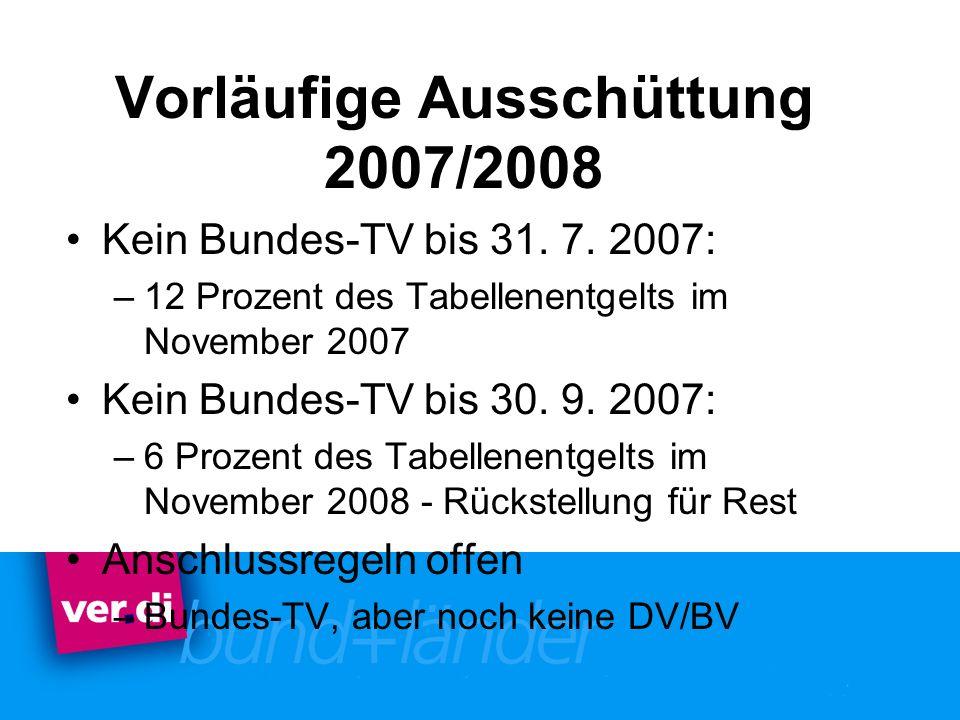 Vorläufige Ausschüttung 2007/2008