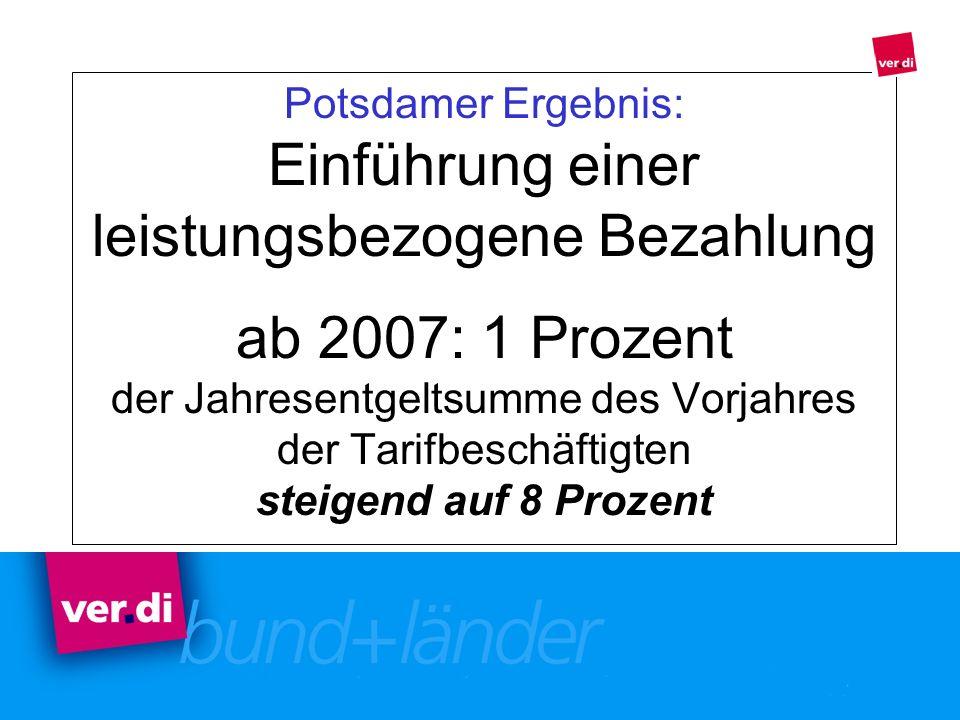 Potsdamer Ergebnis: Einführung einer leistungsbezogene Bezahlung ab 2007: 1 Prozent der Jahresentgeltsumme des Vorjahres der Tarifbeschäftigten steigend auf 8 Prozent