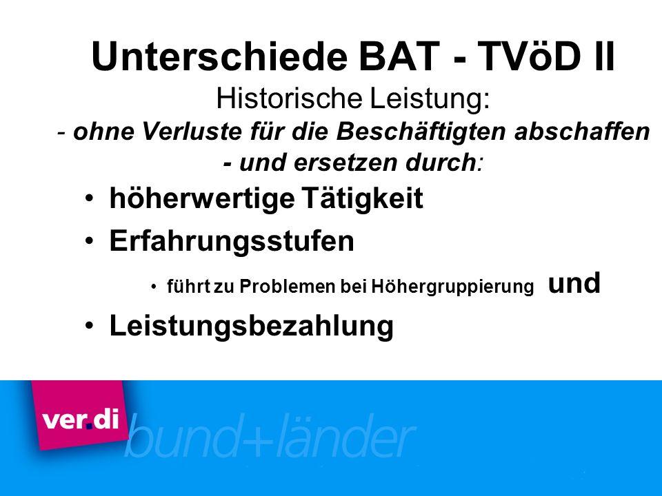 Unterschiede BAT - TVöD II Historische Leistung: - ohne Verluste für die Beschäftigten abschaffen - und ersetzen durch: