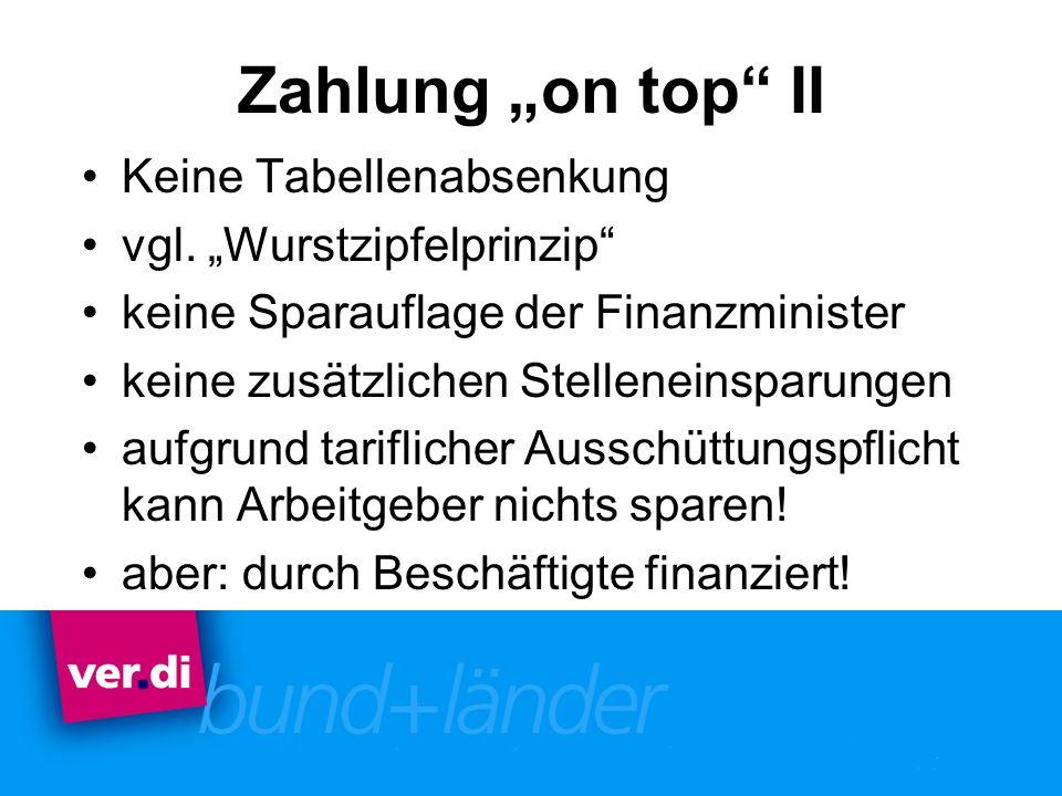 """Zahlung """"on top II Keine Tabellenabsenkung vgl. """"Wurstzipfelprinzip"""