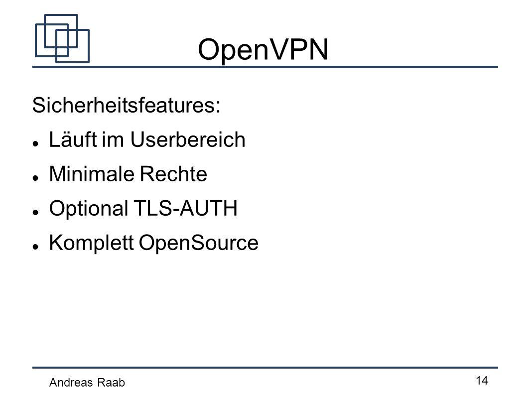 OpenVPN Sicherheitsfeatures: Läuft im Userbereich Minimale Rechte