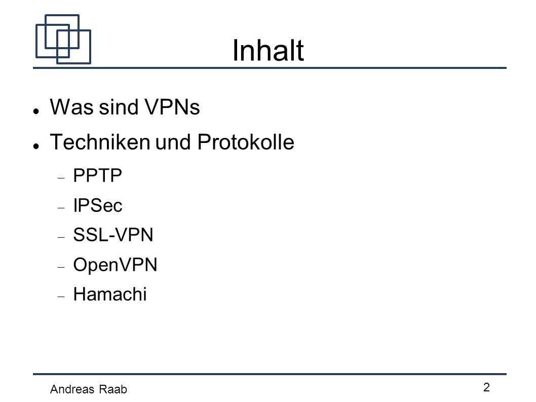 Inhalt Was sind VPNs Techniken und Protokolle PPTP IPSec SSL-VPN
