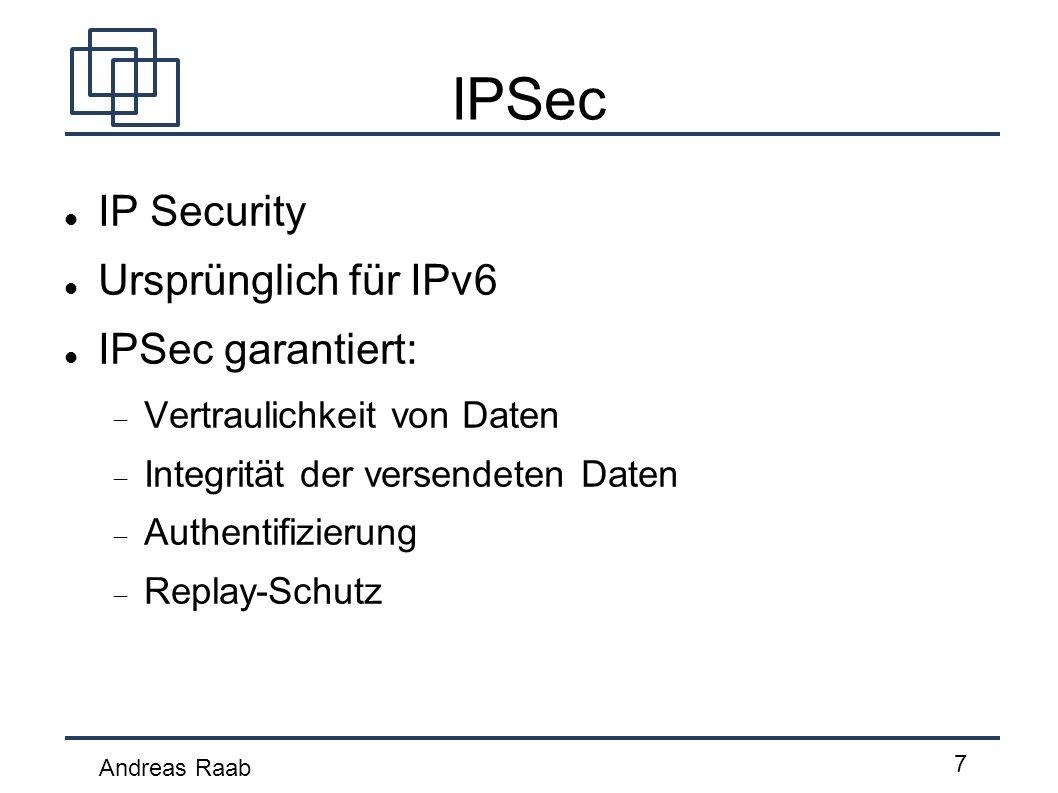 IPSec IP Security Ursprünglich für IPv6 IPSec garantiert: