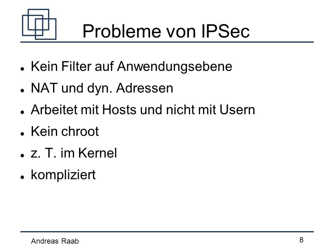 Probleme von IPSec Kein Filter auf Anwendungsebene