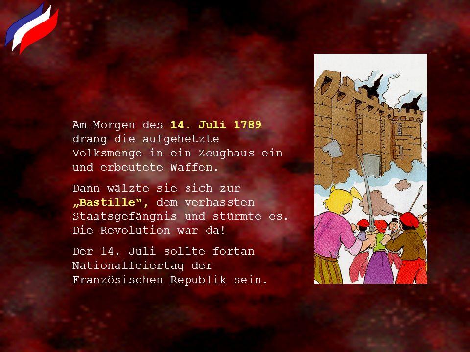 Am Morgen des 14. Juli 1789 drang die aufgehetzte Volksmenge in ein Zeughaus ein und erbeutete Waffen.