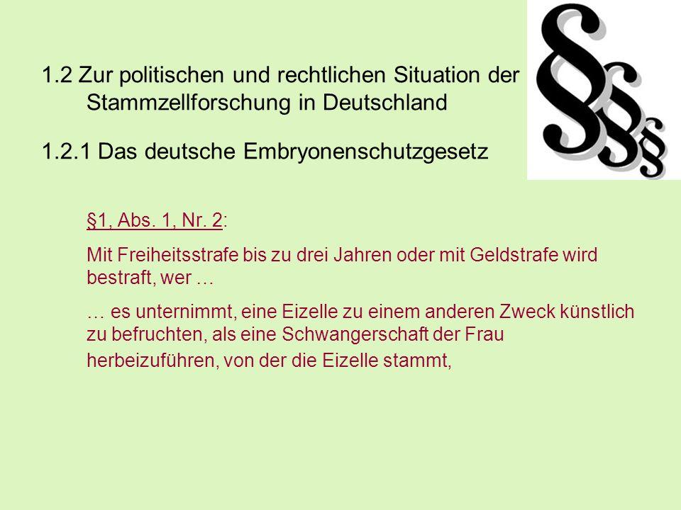 1.2.1 Das deutsche Embryonenschutzgesetz