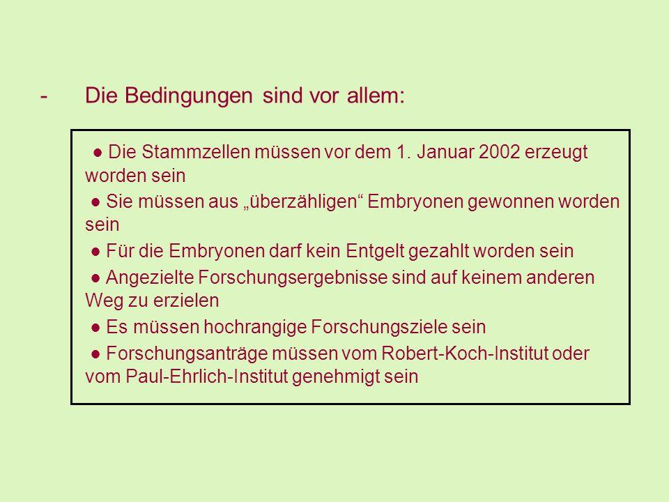 ● Die Stammzellen müssen vor dem 1. Januar 2002 erzeugt worden sein