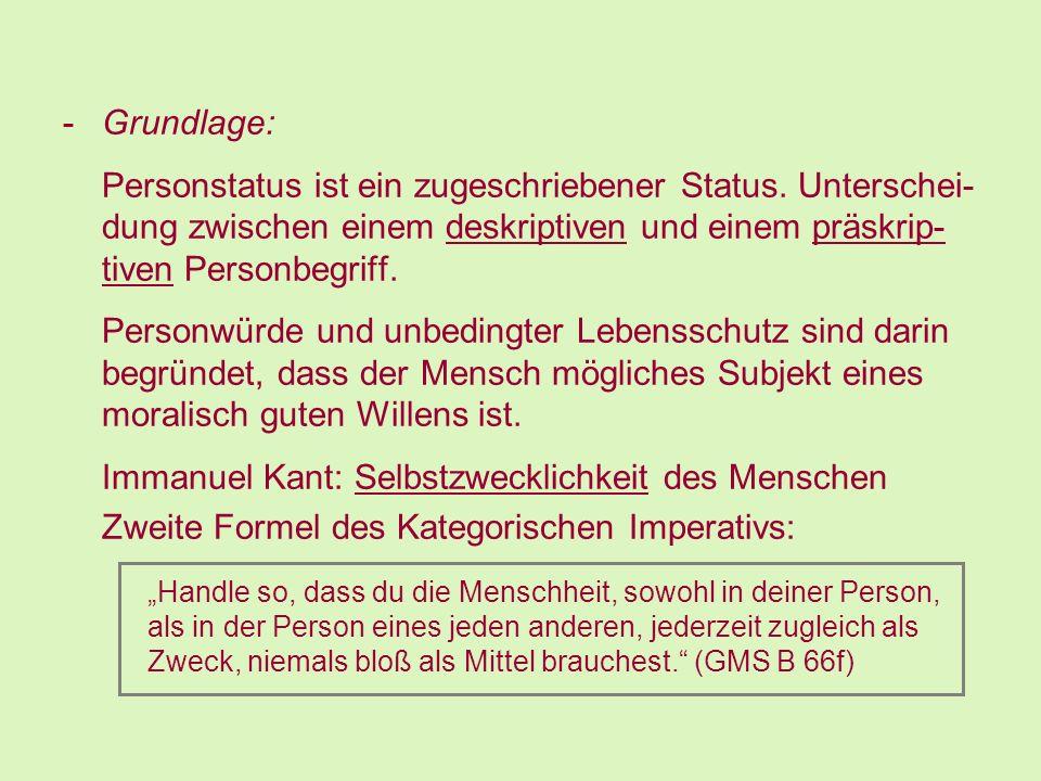 Immanuel Kant: Selbstzwecklichkeit des Menschen
