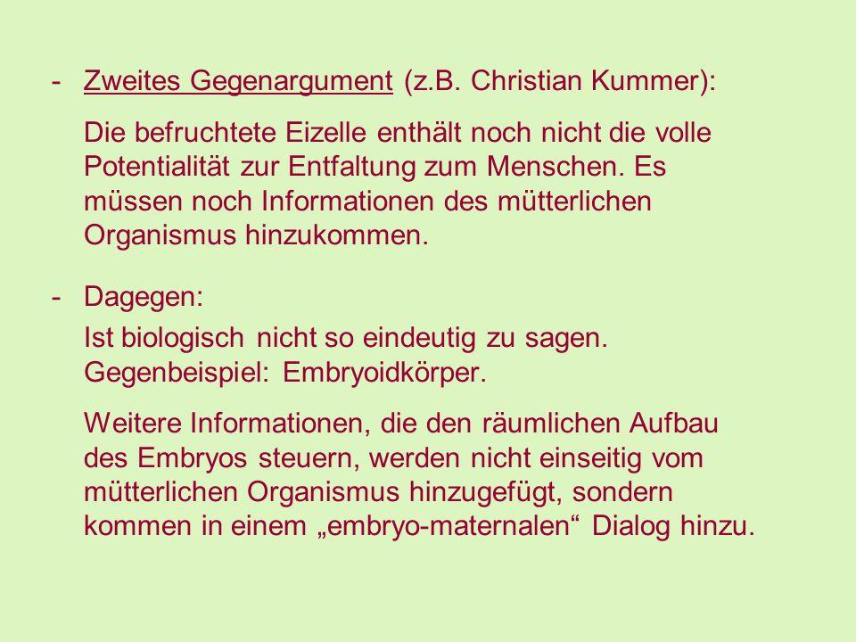 Zweites Gegenargument (z.B. Christian Kummer):