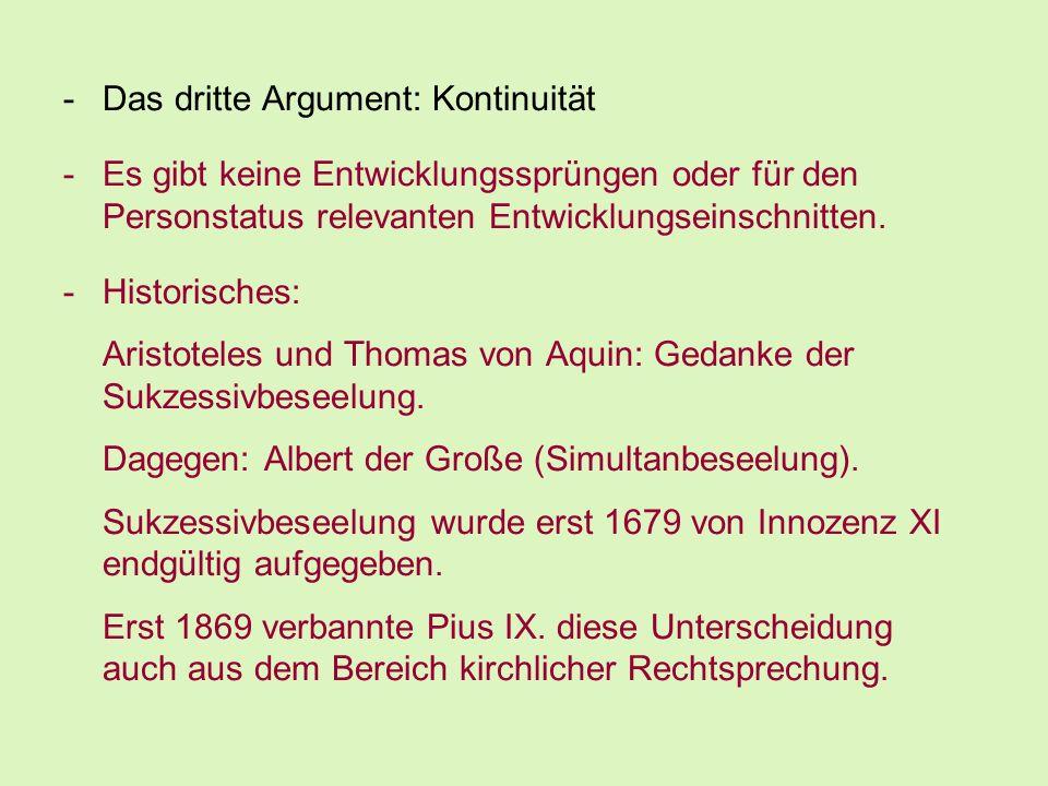 Das dritte Argument: Kontinuität