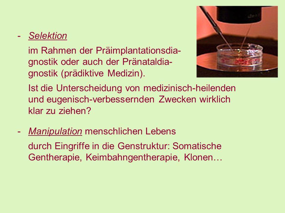 Selektion im Rahmen der Präimplantationsdia- gnostik oder auch der Pränataldia- gnostik (prädiktive Medizin).
