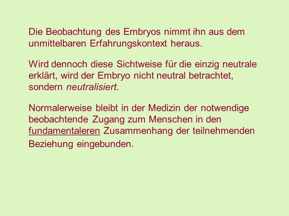 Die Beobachtung des Embryos nimmt ihn aus dem unmittelbaren Erfahrungskontext heraus.