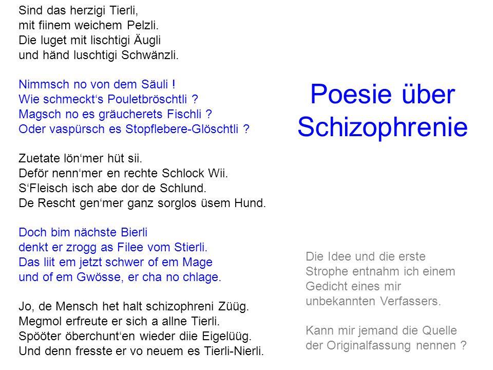 Poesie über Schizophrenie