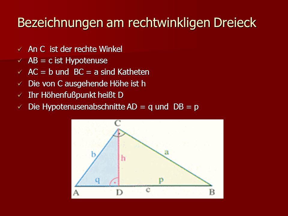 Bezeichnungen am rechtwinkligen Dreieck