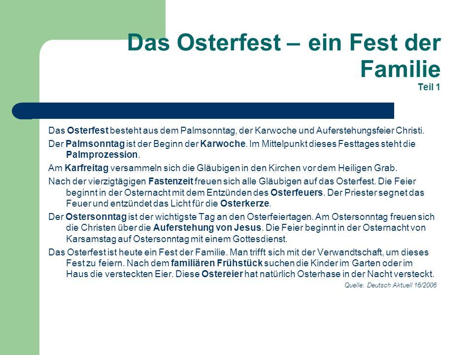 Das Osterfest – ein Fest der Familie Teil 1