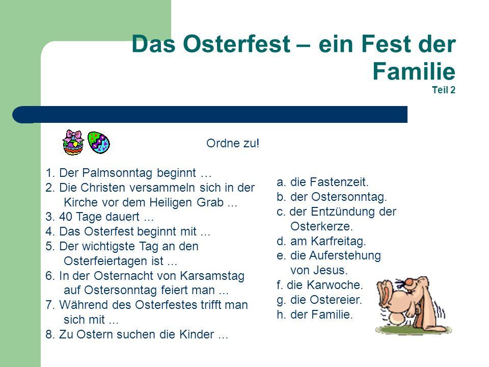 Das Osterfest – ein Fest der Familie Teil 2