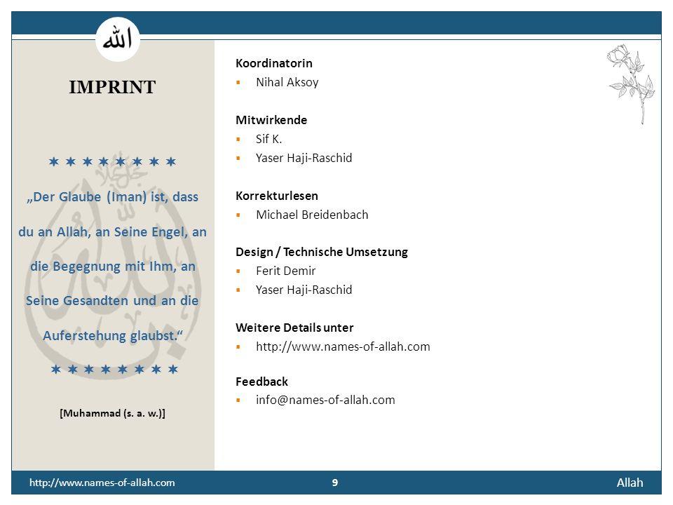 """IMPRINT """"Der Glaube (Iman) ist, dass du an Allah, an Seine Engel, an"""