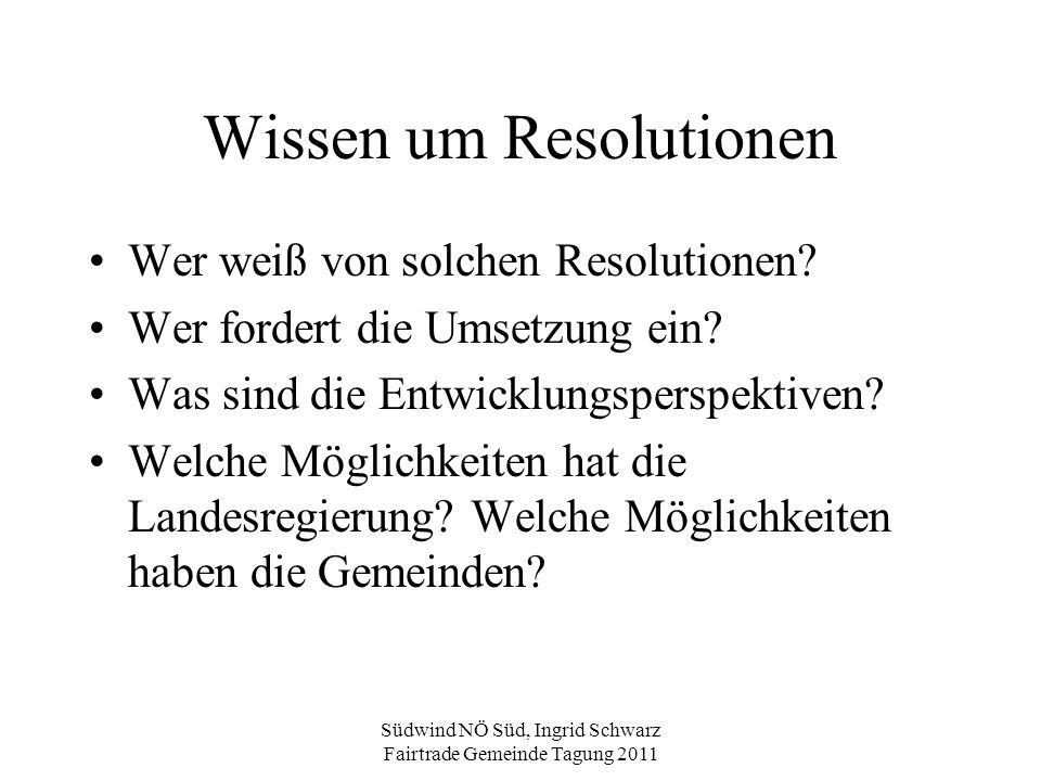 Wissen um Resolutionen
