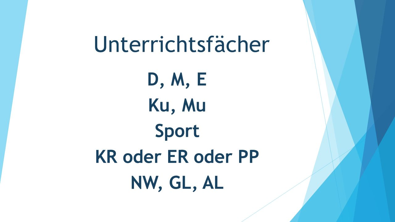 D, M, E Ku, Mu Sport KR oder ER oder PP NW, GL, AL