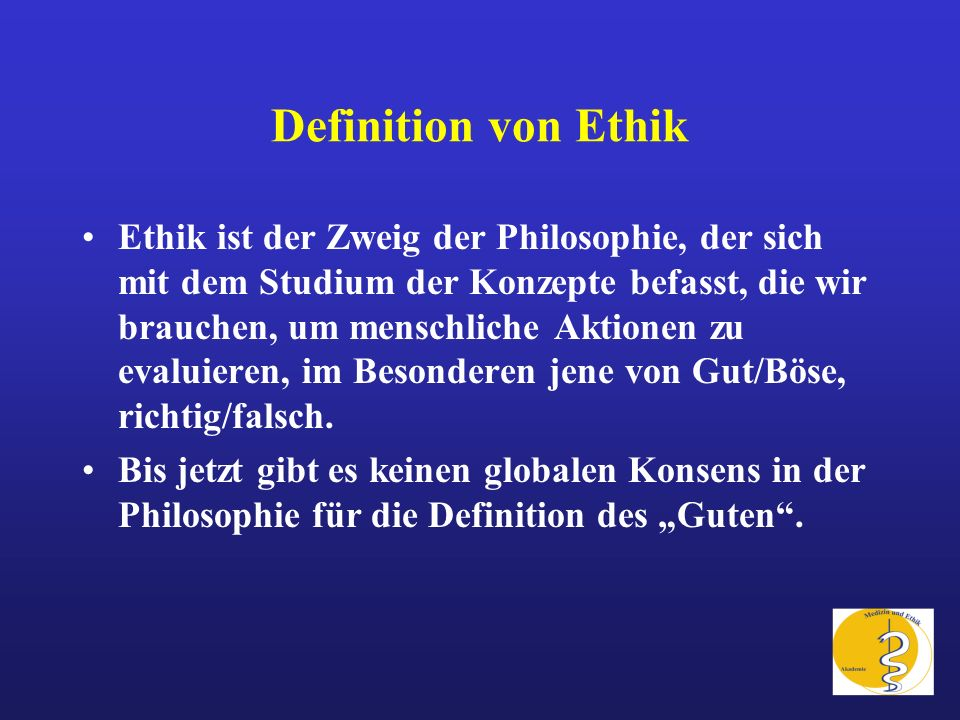 Definition von Ethik