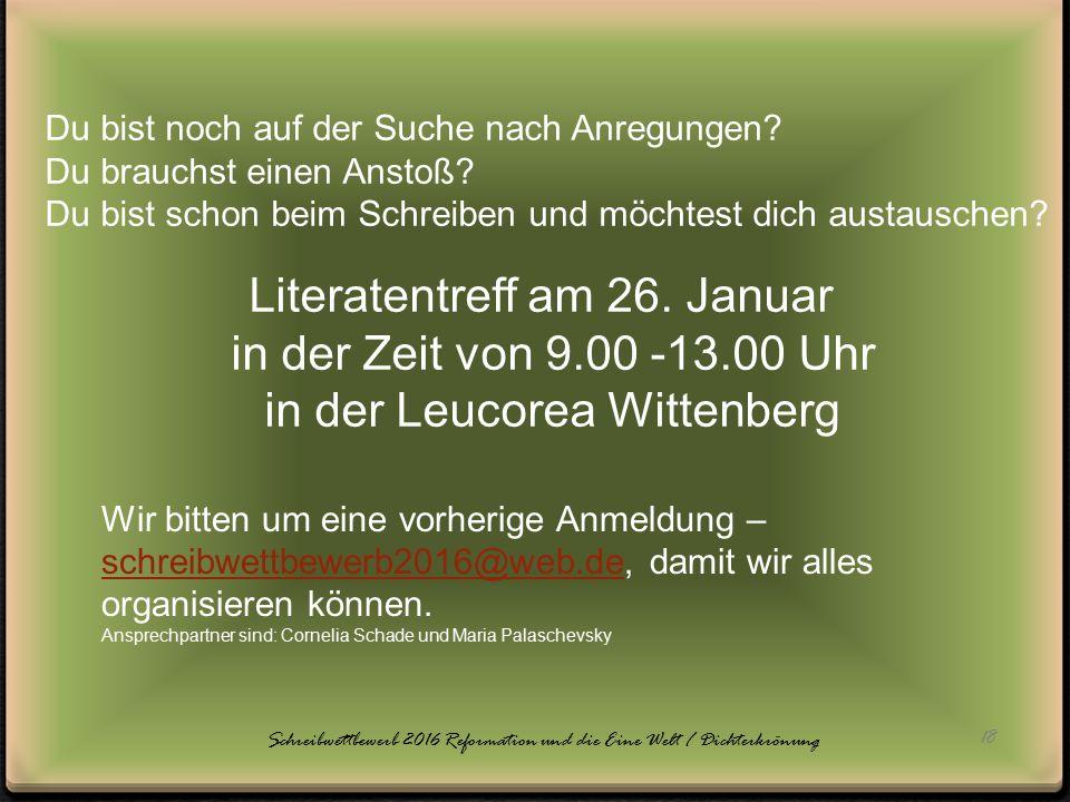Literatentreff am 26. Januar in der Zeit von 9.00 -13.00 Uhr
