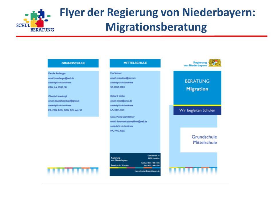 Flyer der Regierung von Niederbayern: Migrationsberatung