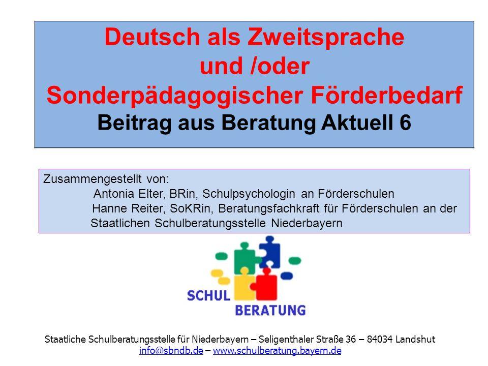 Deutsch als Zweitsprache und /oder Sonderpädagogischer Förderbedarf