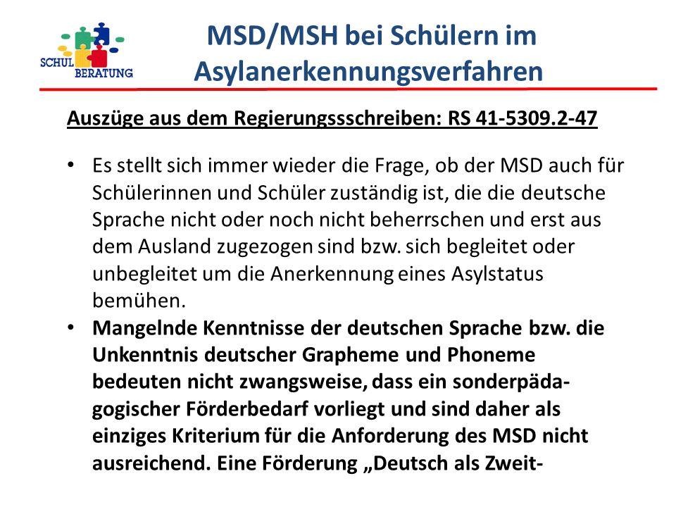 MSD/MSH bei Schülern im Asylanerkennungsverfahren