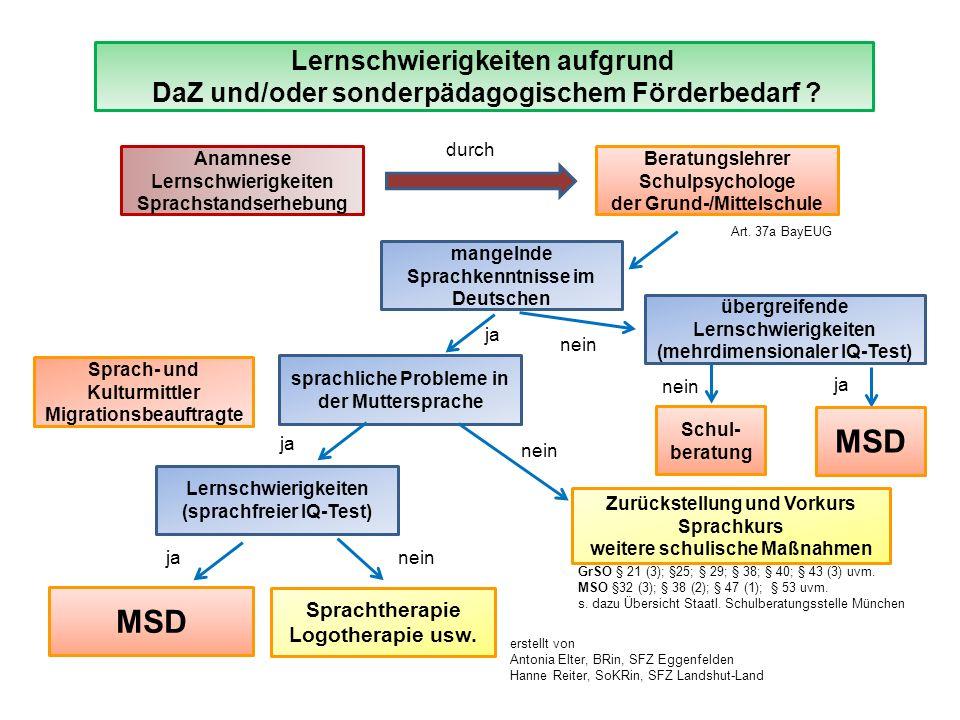 MSD MSD Lernschwierigkeiten aufgrund