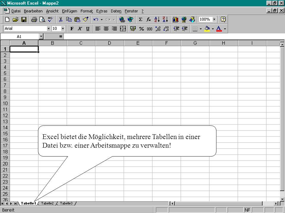 Excel bietet die Möglichkeit, mehrere Tabellen in einer Datei bzw