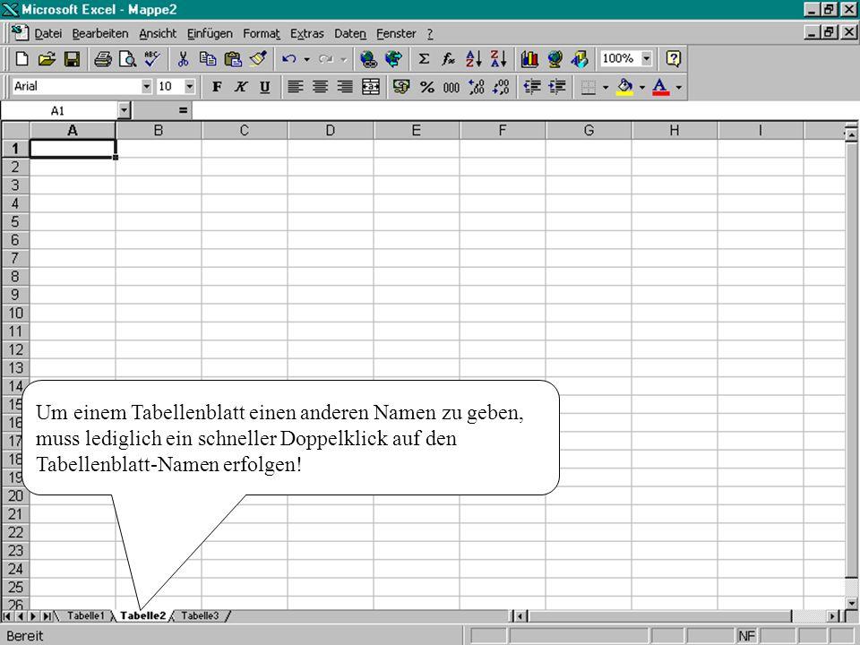 Um einem Tabellenblatt einen anderen Namen zu geben, muss lediglich ein schneller Doppelklick auf den Tabellenblatt-Namen erfolgen!