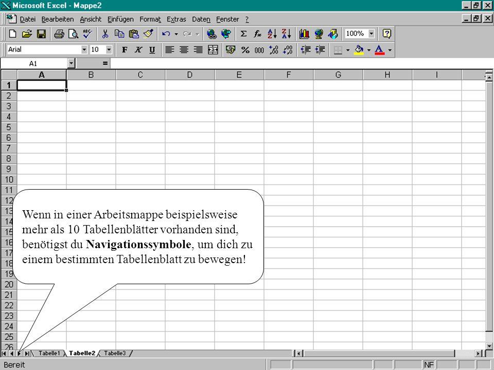 Wenn in einer Arbeitsmappe beispielsweise mehr als 10 Tabellenblätter vorhanden sind, benötigst du Navigationssymbole, um dich zu einem bestimmten Tabellenblatt zu bewegen!