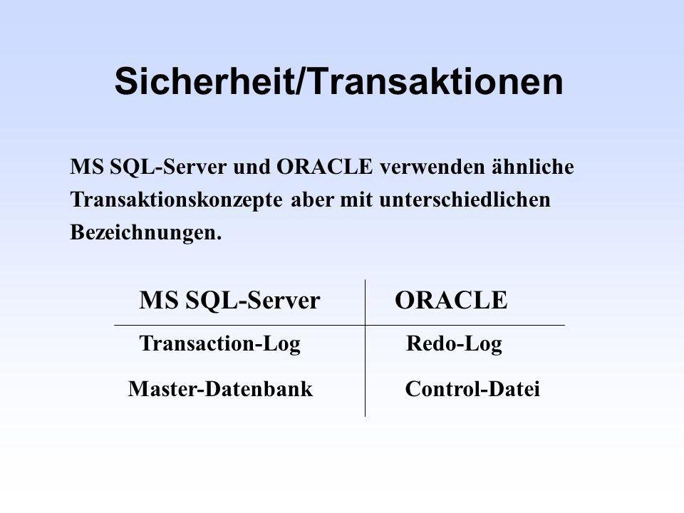 Sicherheit/Transaktionen