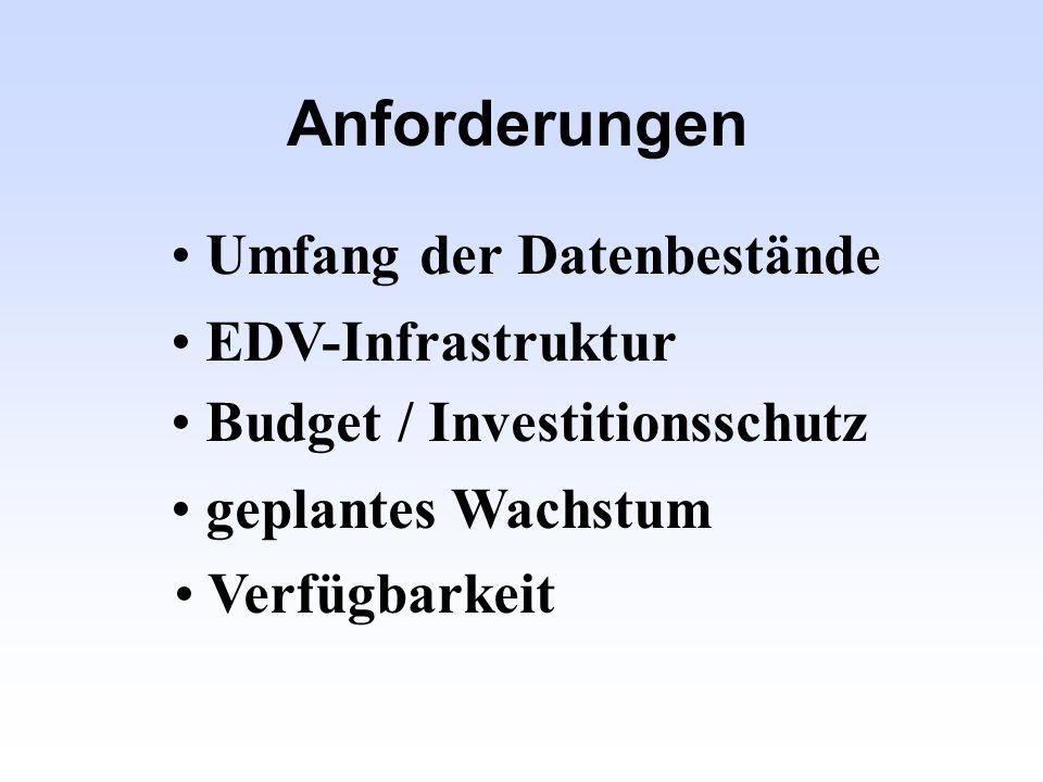 Anforderungen Umfang der Datenbestände EDV-Infrastruktur