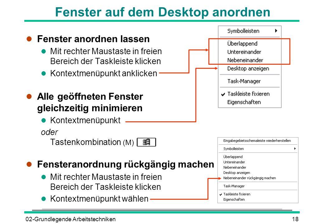 Fenster auf dem Desktop anordnen