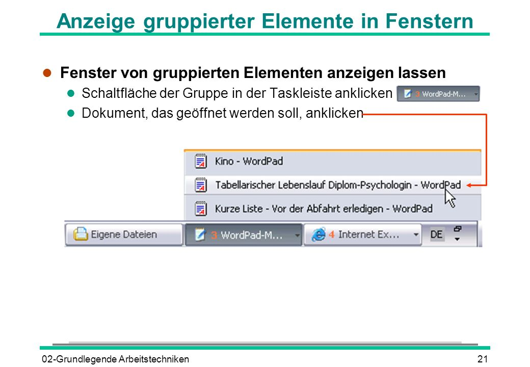 Anzeige gruppierter Elemente in Fenstern