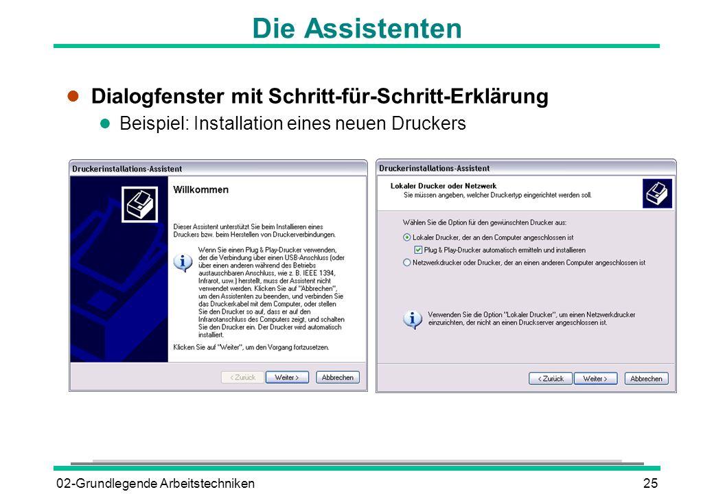 Die Assistenten Dialogfenster mit Schritt-für-Schritt-Erklärung