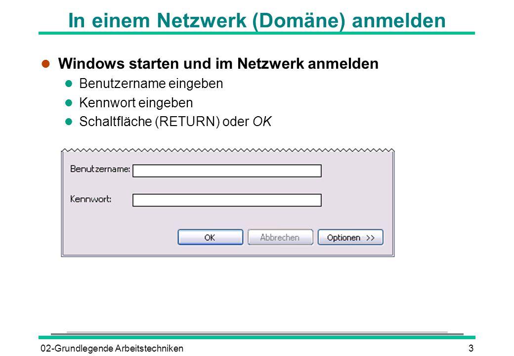 In einem Netzwerk (Domäne) anmelden