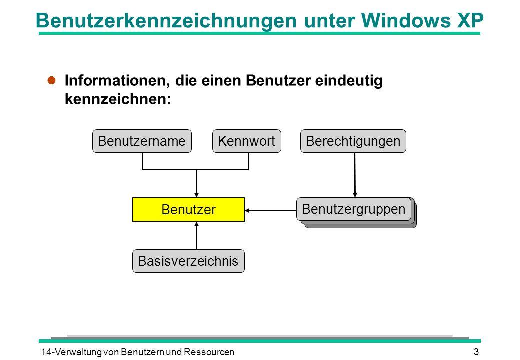 Benutzerkennzeichnungen unter Windows XP