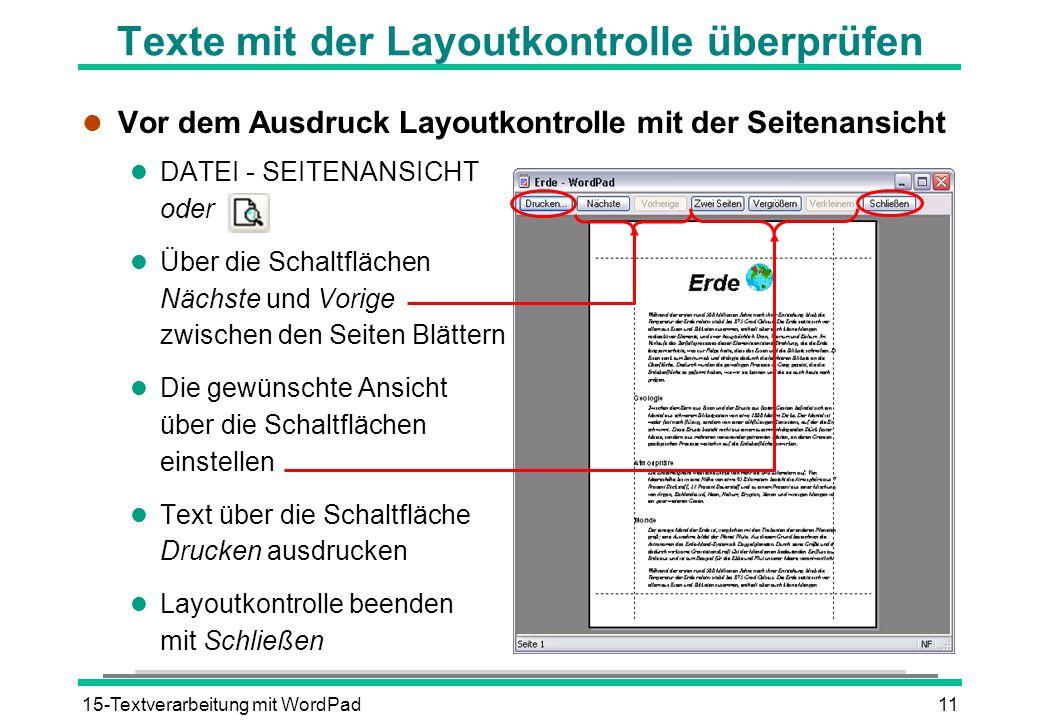 Texte mit der Layoutkontrolle überprüfen