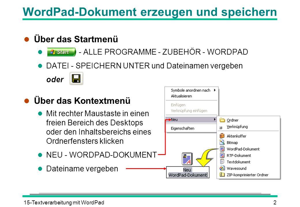 WordPad-Dokument erzeugen und speichern