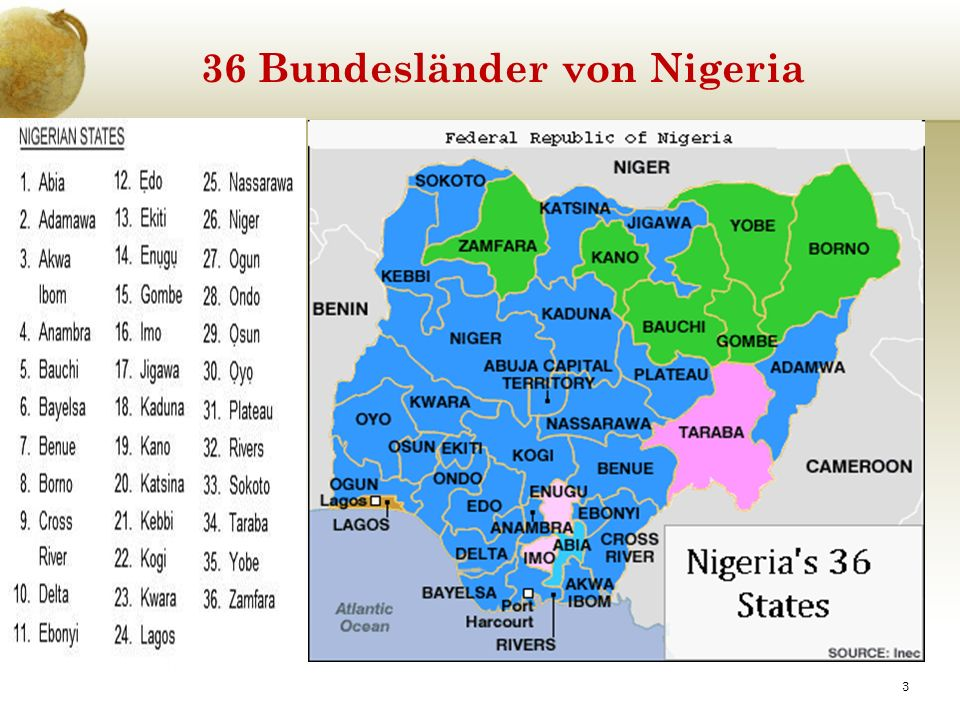 36 Bundesländer von Nigeria