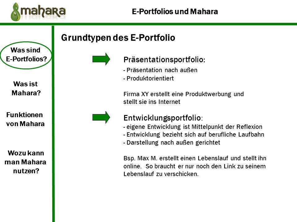 Grundtypen des E-Portfolio