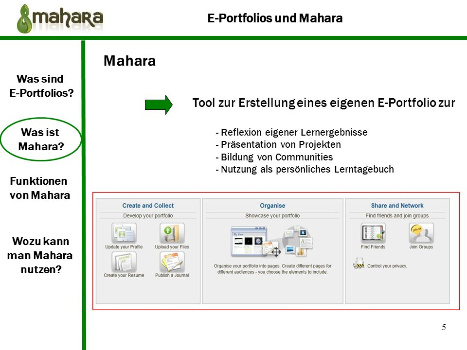 Mahara Tool zur Erstellung eines eigenen E-Portfolio zur