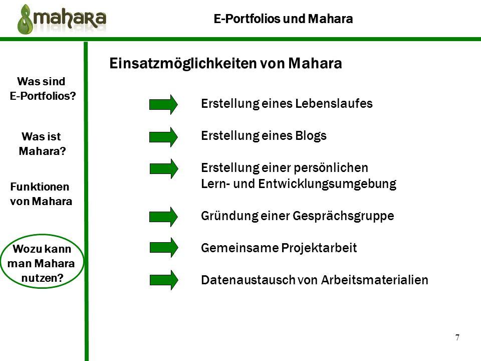 Einsatzmöglichkeiten von Mahara