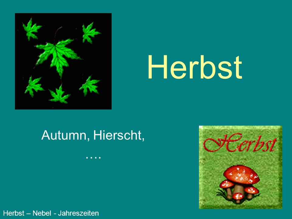 Herbst Autumn, Hierscht, …. Herbst – Nebel - Jahreszeiten
