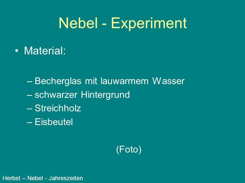 Nebel - Experiment Material: Becherglas mit lauwarmem Wasser