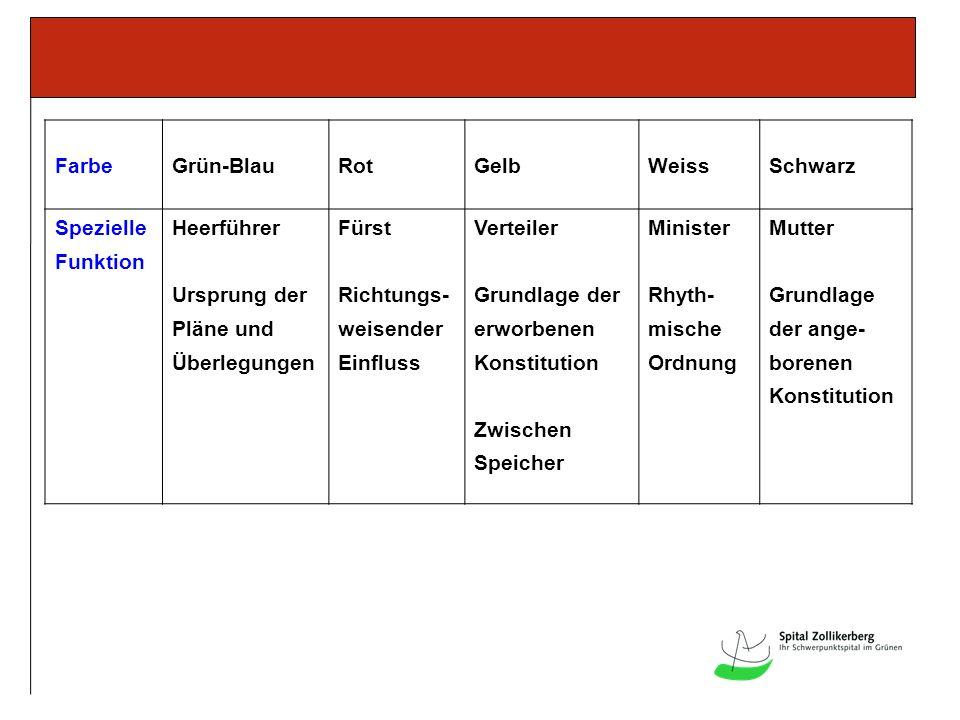 Farbe Grün-Blau. Rot. Gelb. Weiss. Schwarz. Spezielle. Funktion. Heerführer. Ursprung der. Pläne und.