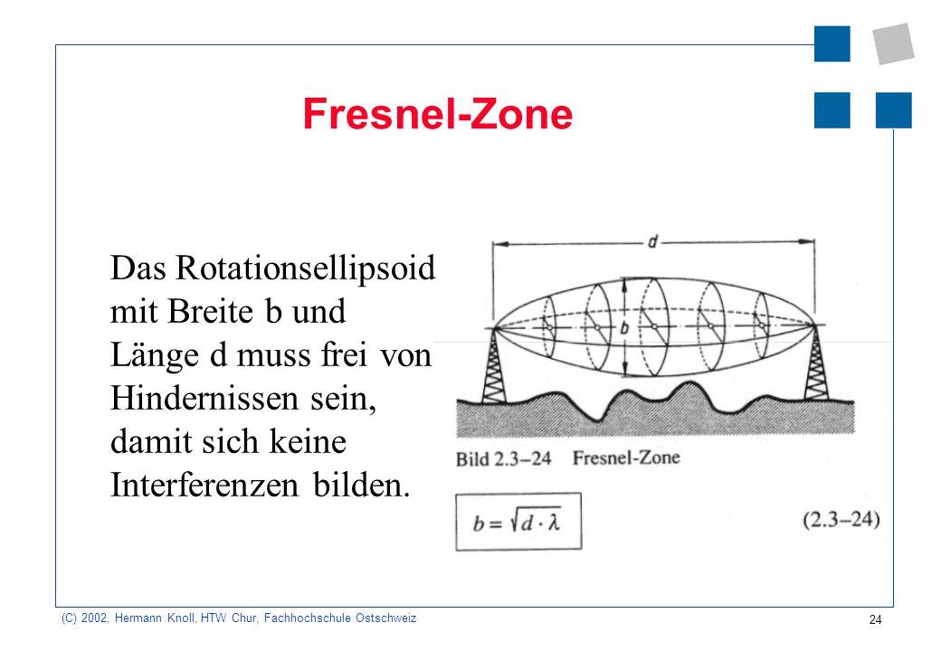 Fresnel-ZoneDas Rotationsellipsoid mit Breite b und Länge d muss frei von Hindernissen sein, damit sich keine Interferenzen bilden.